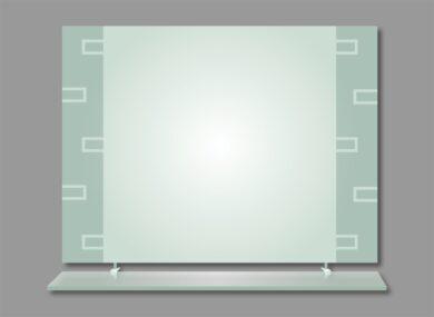 Zrcadlo bez osvětlení, pískované s poličkou, 80x60cm(MOVEH-29)