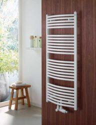 Koupelnový radiátor Virndo Bow 150x60, prohnutý, středové připojení, bílý-ABT-150-060-05